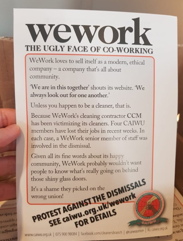 WeWork cleaners' protest on Poultry in the City of London